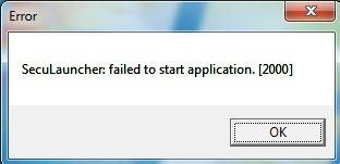 ошибка error SecuLauncher failed to start application 2000 решение как исправить